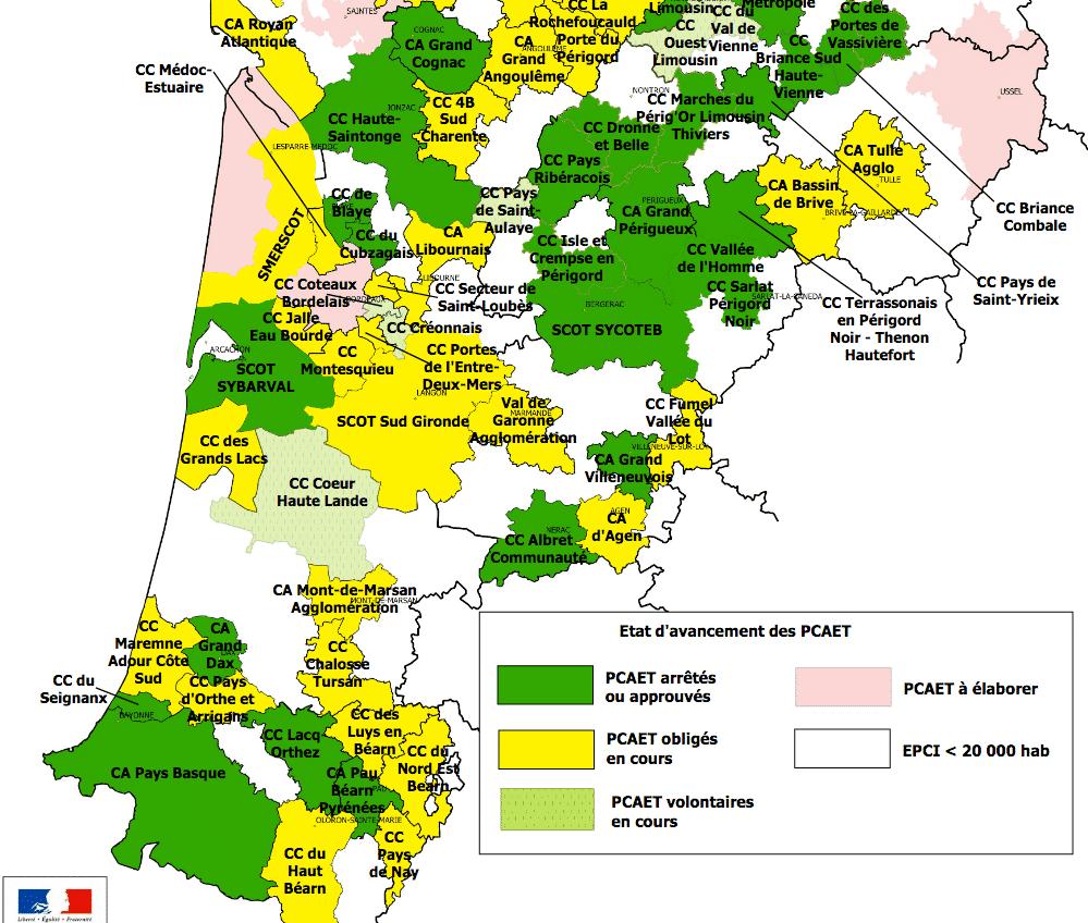 -> Carte des PCAET de Nouvelle-Aquitaine au 03 juillet 2020 (format pdf – 1.6 Mo – 03/07/2020)