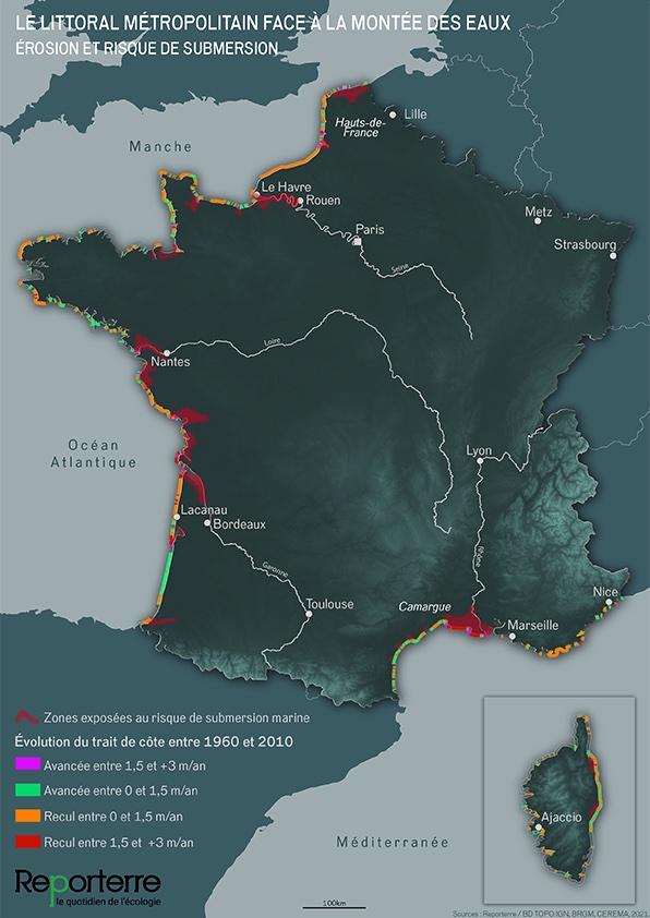 Le littoral métropolitain face à la montée des eaux ©Gaëlle Sutton / Reporterre, 2021